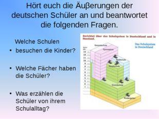 Hört euch die Äuβerungen der deutschen Schüler an und beantwortet die folgend