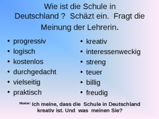 Wie ist die Schule in Deutschland ? Schäzt ein. Fragt die Meinung der Lehreri
