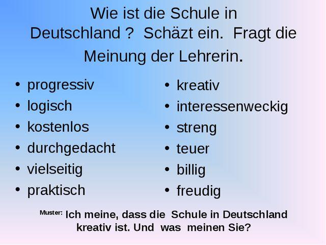 Wie ist die Schule in Deutschland ? Schäzt ein. Fragt die Meinung der Lehreri...