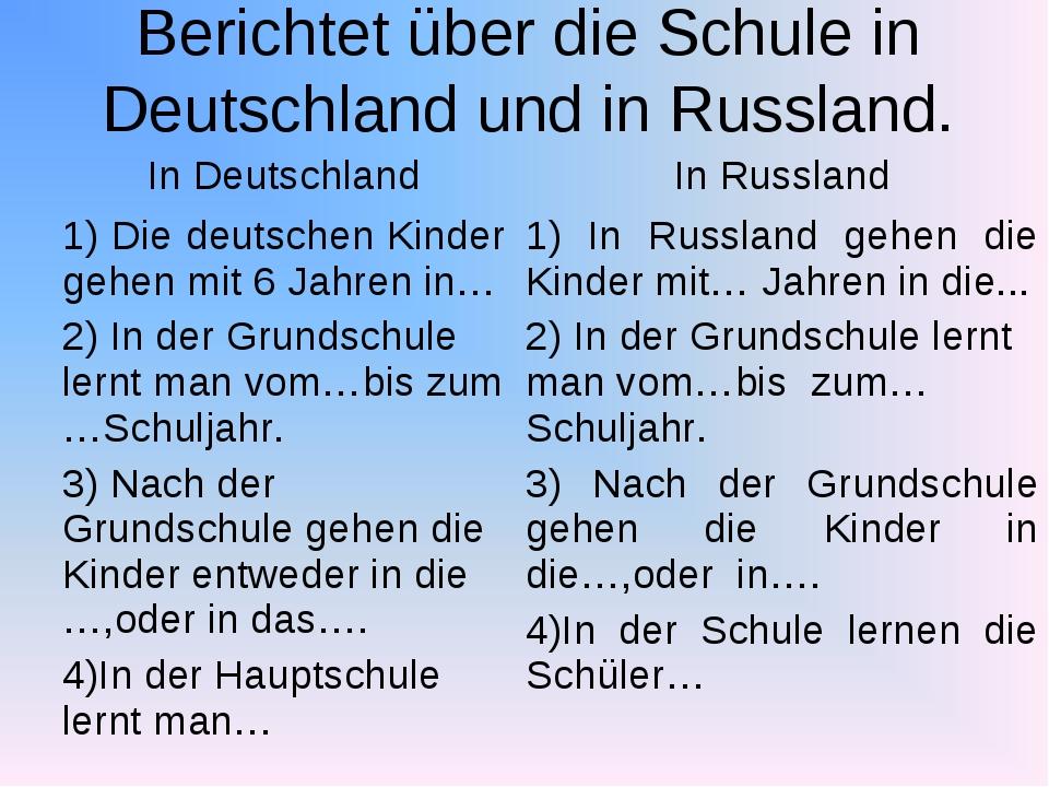 Berichtet über die Schule in Deutschland und in Russland. In DeutschlandIn R...
