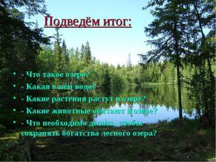 Подведём итог: - Что такое озеро? - Какая в нём вода? - Какие растения растут