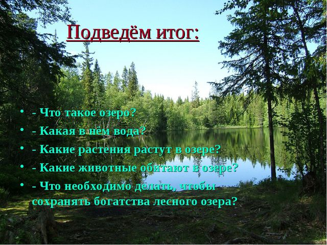 Подведём итог: - Что такое озеро? - Какая в нём вода? - Какие растения растут...