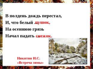 В полдень дождь перестал, И, что белый … На осеннюю грязь Начал падать … пушо