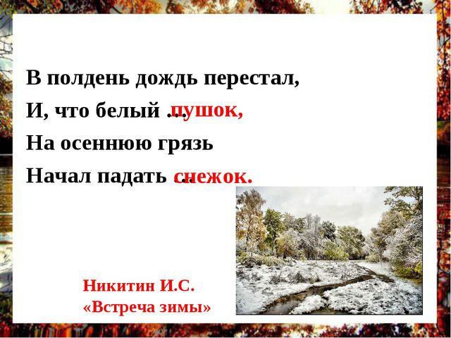 В полдень дождь перестал, И, что белый … На осеннюю грязь Начал падать … пушо...