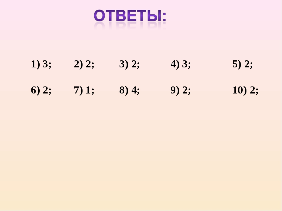 1) 3; 2) 2; 3) 2; 4) 3; 5) 2; 6) 2; 7) 1; 8) 4; 9) 2; 10) 2;