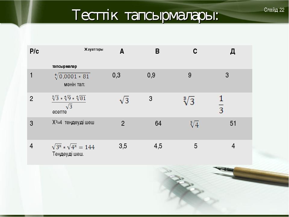 Тесттік тапсырмалары: Слайд 22 Р/с Жауаптары тапсырмаларА В С Д 1 мәнін...