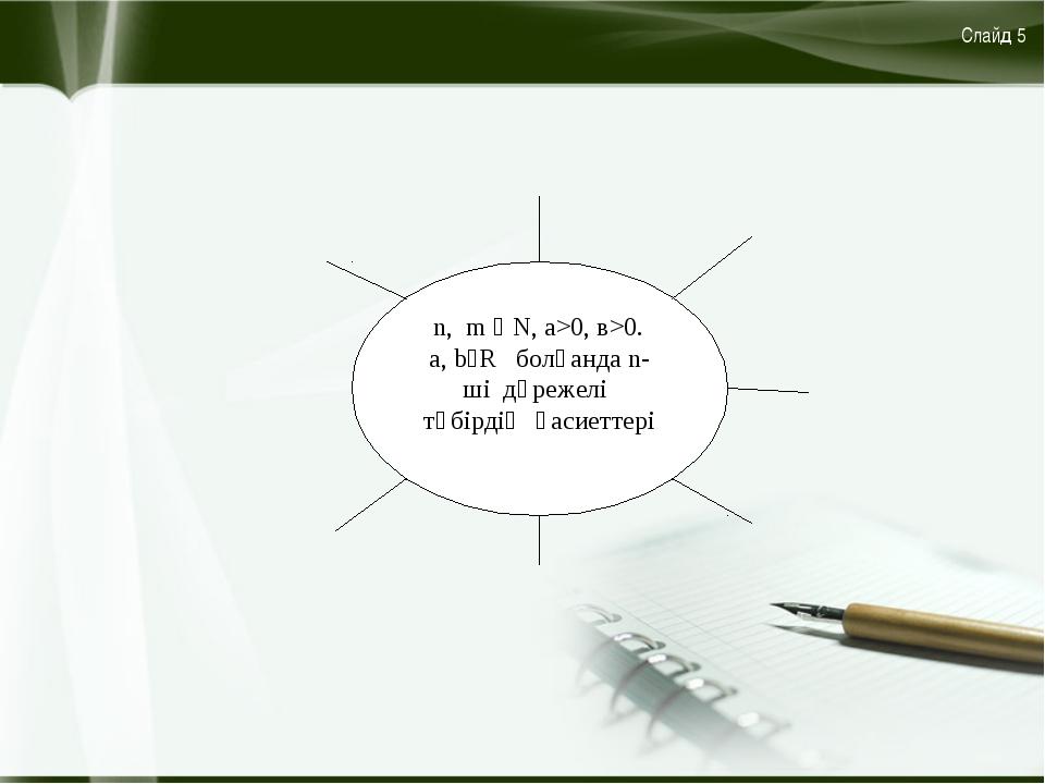n, m ϵ N, a>0, в>0. a, bϵR болғанда n-ші дәрежелі түбірдің қасиеттері Слайд 5