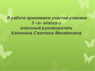 В работе принимали участие ученики 3 «з» класса и классный руководитель Калин