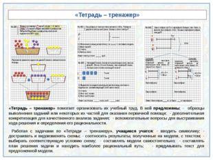 «Тетрадь – тренажер» «Тетрадь – тренажер» помогает организовать их учебный т