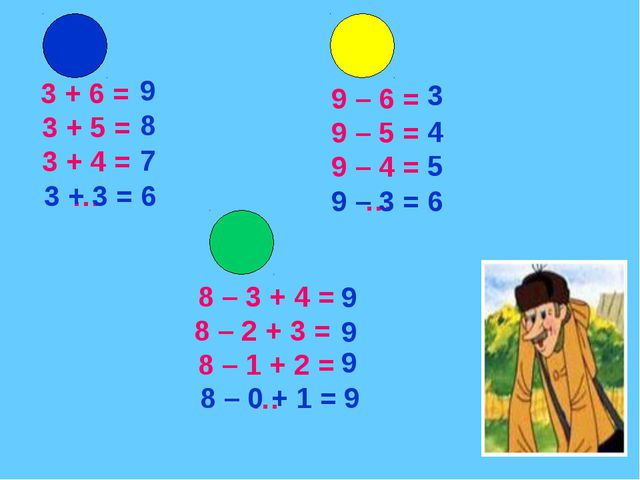 3 + 6 = 3 + 5 = 3 + 4 = … 9 – 6 = 9 – 5 = 9 – 4 = … 8 – 3 + 4 = 8 – 2 + 3 =...