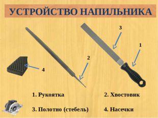 1. Рукоятка 2. Хвостовик 3. Полотно (стебель) 4. Насечки 1 3 2 4 УСТРОЙСТВО Н