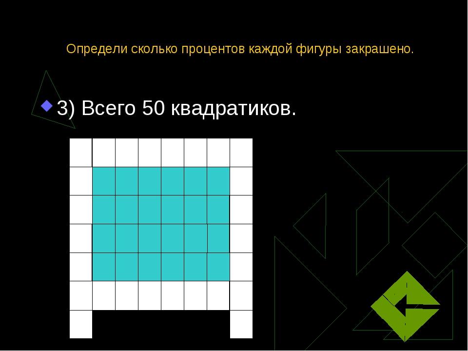 Определи сколько процентов каждой фигуры закрашено. 3) Всего 50 квадратиков.
