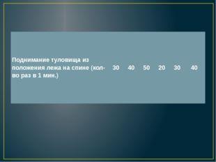 Поднимание туловища из положения лежа на спине (кол-во раз в 1 мин.) 30 40 5