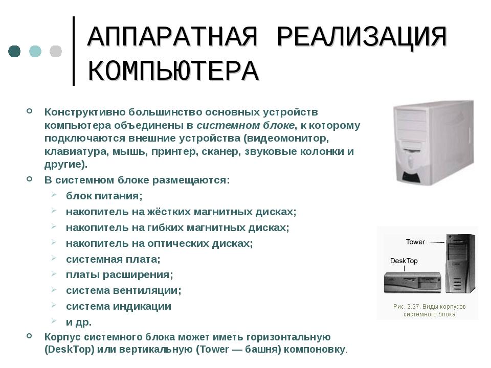АППАРАТНАЯ РЕАЛИЗАЦИЯ КОМПЬЮТЕРА Конструктивно большинство основных устройств...