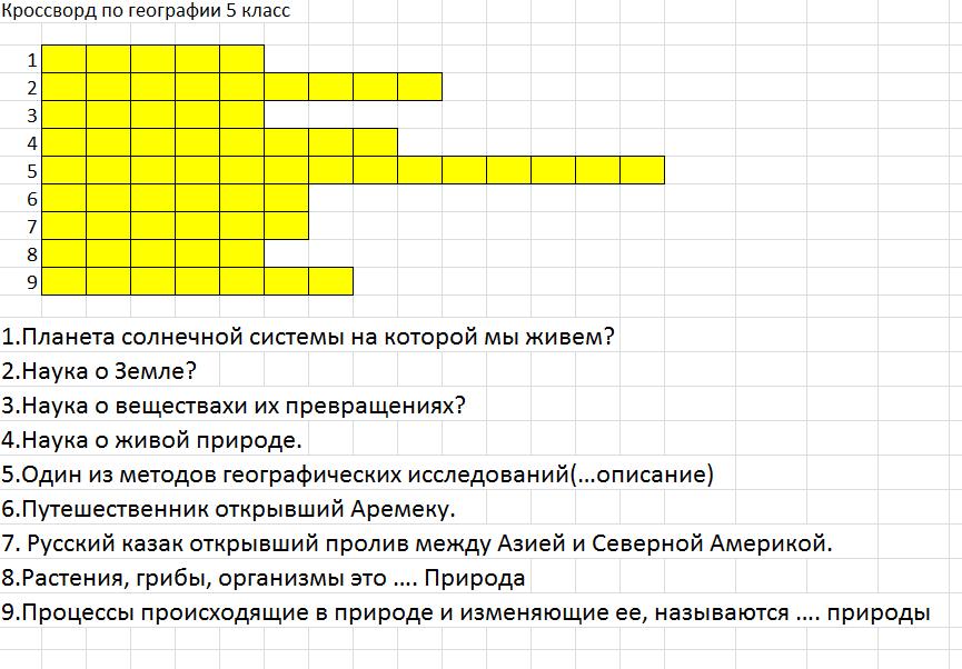 Кроссворд по географии 8 класс с ответами с 5 по 20 парагаф