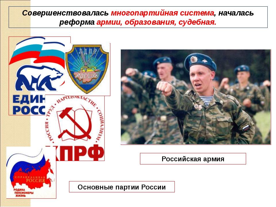 Совершенствовалась многопартийная система, началась реформа армии, образовани...