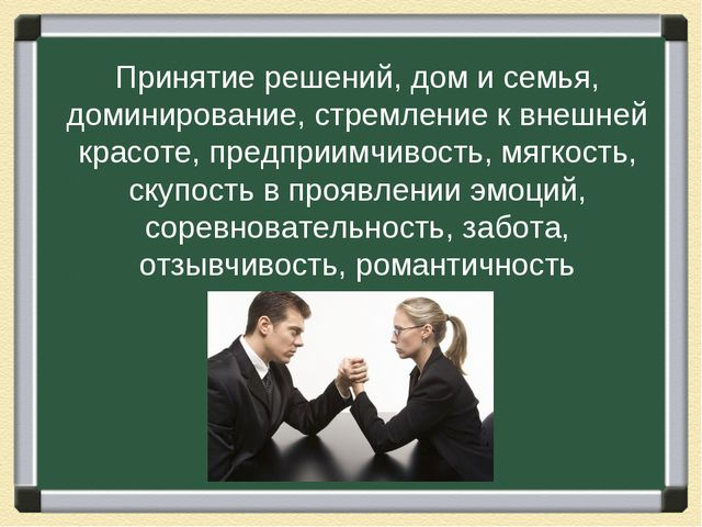 Принятие решений, дом и семья, доминирование, стремление к внешней красоте, п...