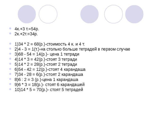4к.+3 т.=54р. 2к.+2т.=34р. 1)34 * 2 = 68(р.)-стоимость 4 к. и 4 т. 2)4 - 3 =...