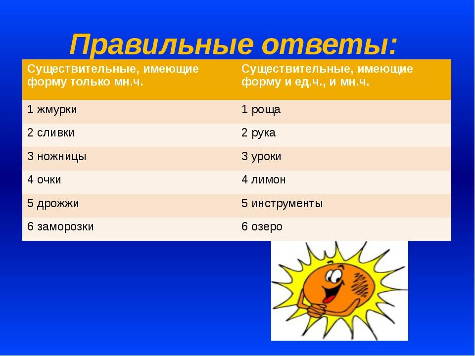 Правильные ответы: Существительные, имеющие форму только мн.ч. Существительны...