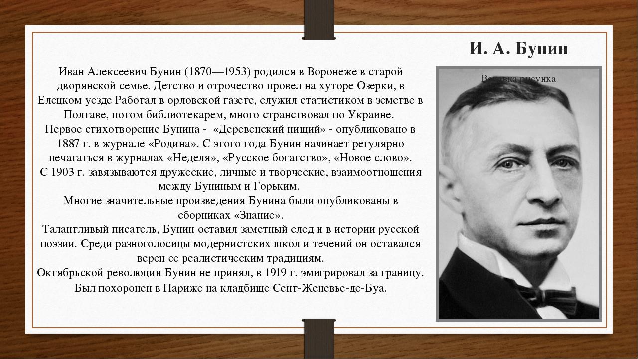 И. А. Бунин Иван Алексеевич Бунин (1870—1953) родился в Воронеже в старой дво...
