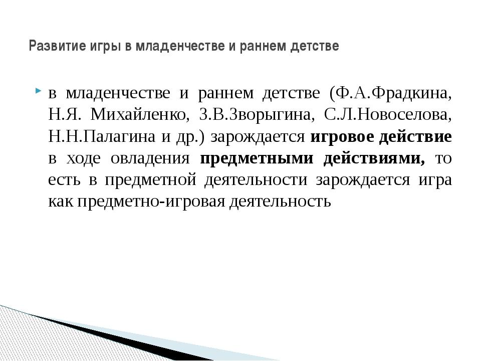 в младенчестве и раннем детстве (Ф.А.Фрадкина, Н.Я. Михайленко, З.В.Зворыгина...