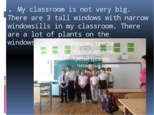 . My classroom is not very big. There are 3 tall windows with narrow windowsi