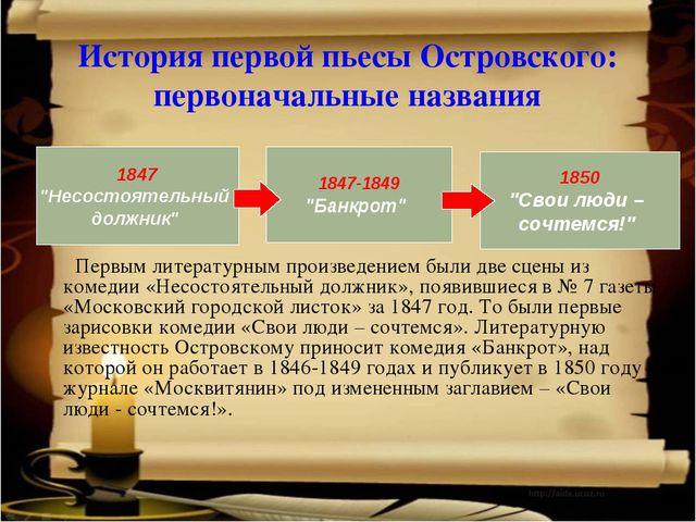 История первой пьесы Островского: первоначальные названия Первым литературны...