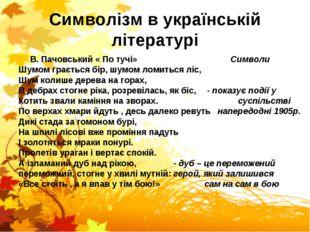 Символізм в українській літературі В. Пачовський « По тучі» Символи Шумом