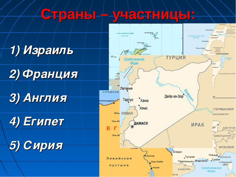 Страны – участницы: 1) Израиль 2) Франция 3) Англия 4) Египет 5) Сирия