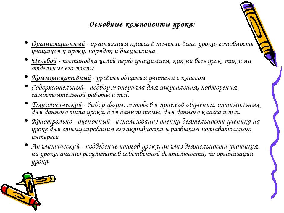 Основные компоненты урока: Организационный - организация класса в течение все...
