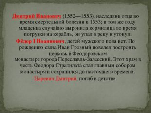 Дмитрий Иванович(1552—1553), наследник отца во время смертельной болезни в