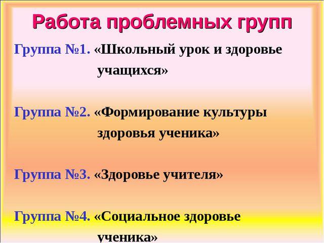 Работа проблемных групп Группа №1. «Школьный урок и здоровье учащихся» Группа...