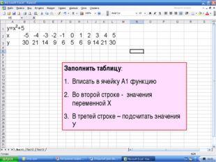 Заполнить таблицу: Вписать в ячейку А1 функцию Во второй строке - значения пе