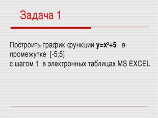Задача 1 Построить график функции у=х2+5 в промежутке [-5;5] с шагом 1 в элек