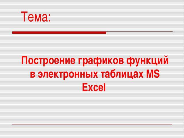 Построение графиков функций в электронных таблицах MS Excel Тема: