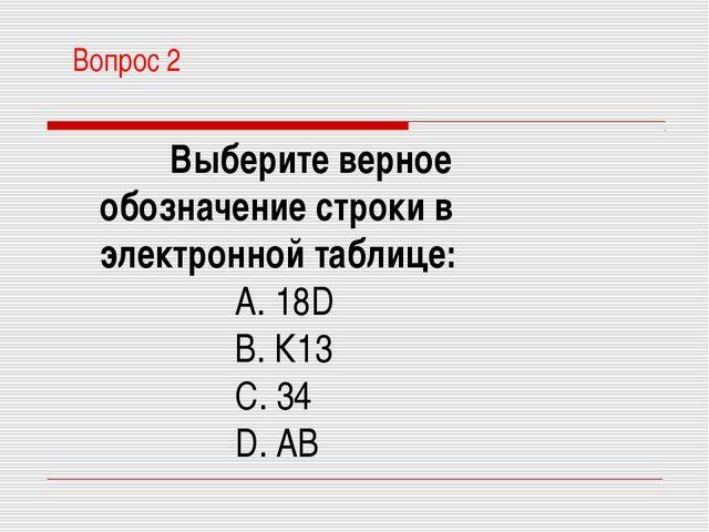 Вопрос 2 Выберите верное обозначение строки в электронной таблице: A. 18D B....