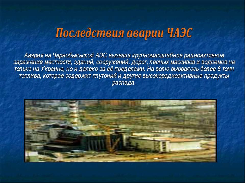 Авария на Чернобыльской АЭС вызвала крупномасштабное радиоактивное заражение...