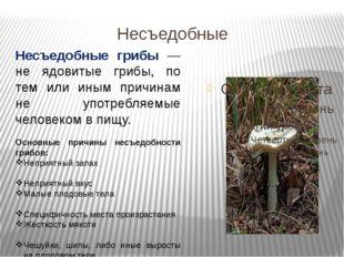 Несъедобные Несъедобные грибы — не ядовитые грибы, по тем или иным причинам н
