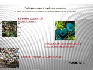 Грибы для которых съедобность неизвестна Для многих видов грибов не были про