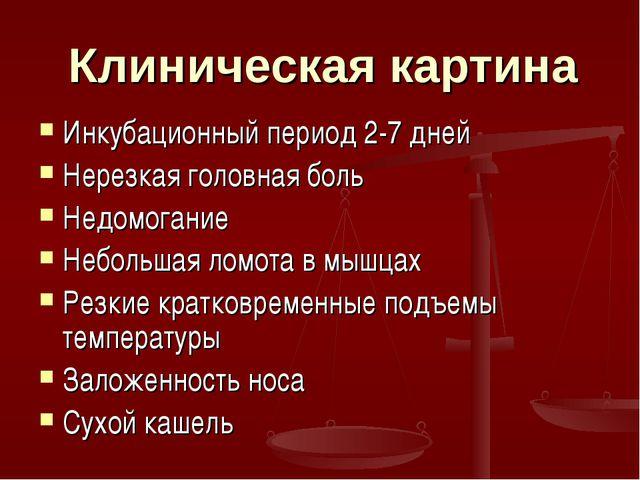 Клиническая картина Инкубационный период 2-7 дней Нерезкая головная боль Недо...