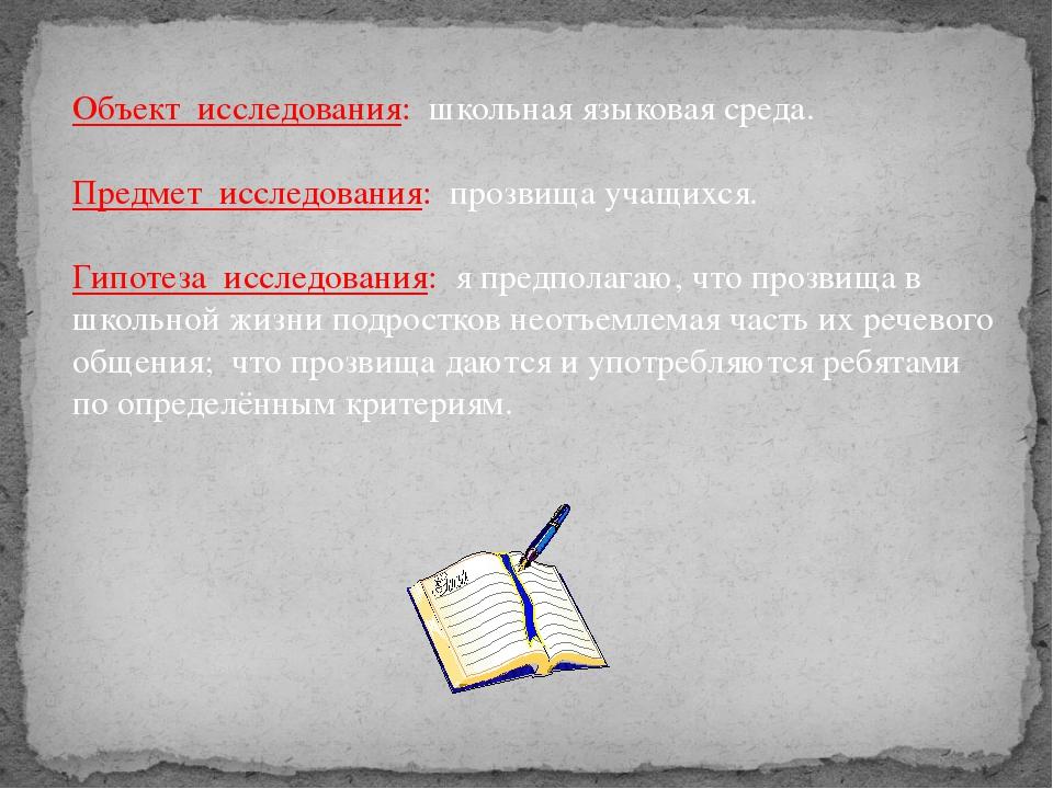 Объект исследования: школьная языковая среда. Предмет исследования: прозвища...
