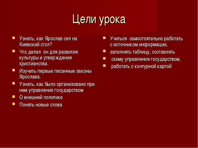 Цели урока Узнать, как Ярослав сел на Киевский стол? Что делал он для развити...