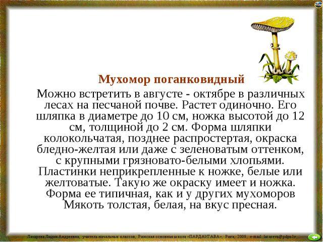 Мухомор поганковидный Можно встретить в августе - октябре в различных лесах...