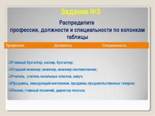 Задание №3 Распределите профессии, должности и специальности по колонкам табл