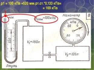 р1 = 100 кПа +520 мм.рт.ст.*0,133 кПа= = 169 кПа