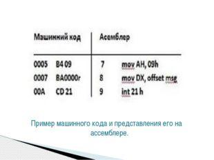 Пример машинного кода и представления его на ассемблере.