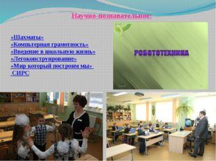 «Шахматы» «Компьтерная грамотность» «Введение в школьную жизнь» «Легоконструи