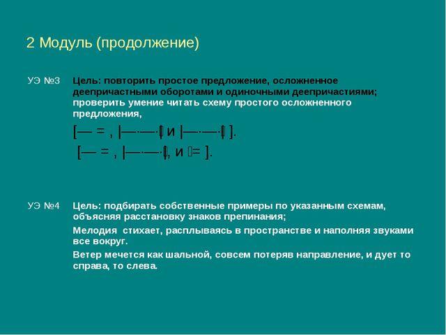2 Модуль (продолжение)  УЭ №3Цель: повторить простое предложение, осложненн...
