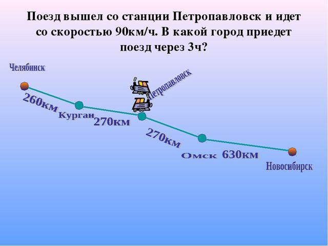 Поезд вышел со станции Петропавловск и идет со скоростью 90км/ч. В какой горо...