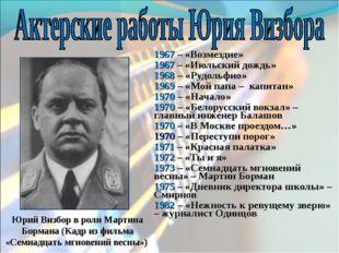 1967 – «Возмездие» 1967 – «Июльский дождь» 1968 – «Рудольфио» 1969 – «Мой пап